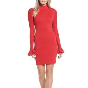 NWT Michael Kors red mock neck bell sleeve dress